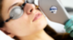 Laser treatment on face with protective goggles