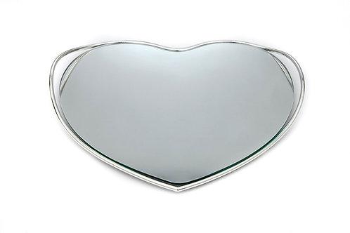 Δίσκος επάργυρος  με καθρέφτη σε σχήμα καρδιάς ΔΕ-123