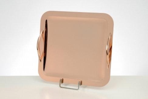 Ροζ επίχρυσος δίσκος τετράγωνος ΔΕ-2