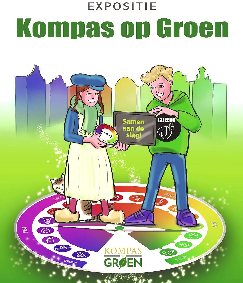 Poster van de expositie Kompas op Groen met de tekst: samen aan de slag.