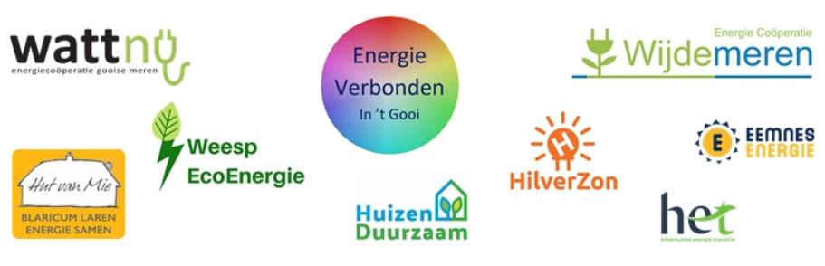 De coöperaties die zijn verbonden aan Energie Verbonden in het Gooi: Wattnu, Hut van Mie, Huizen Duurzaam, Weest EcoEnergie, Hilverzon Energiecooperatie Wijdemeren en Eemnes Energie