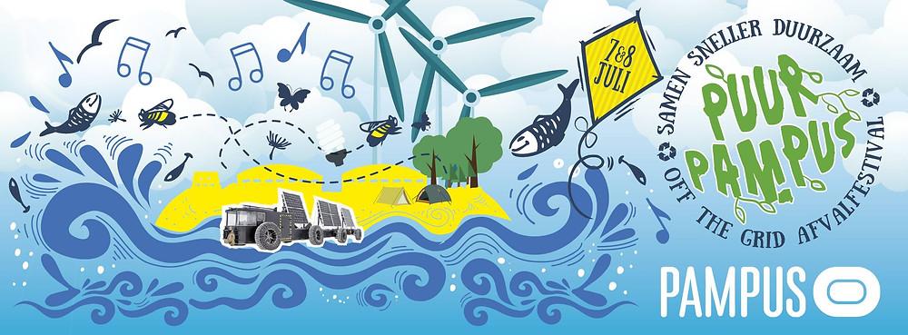 Flyer van het duurzame festival Puur Pampus van juli 2018.
