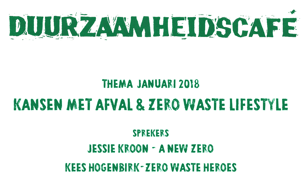Flyer te promotie van het Duurzaamheidscafé over afval en zero waste.
