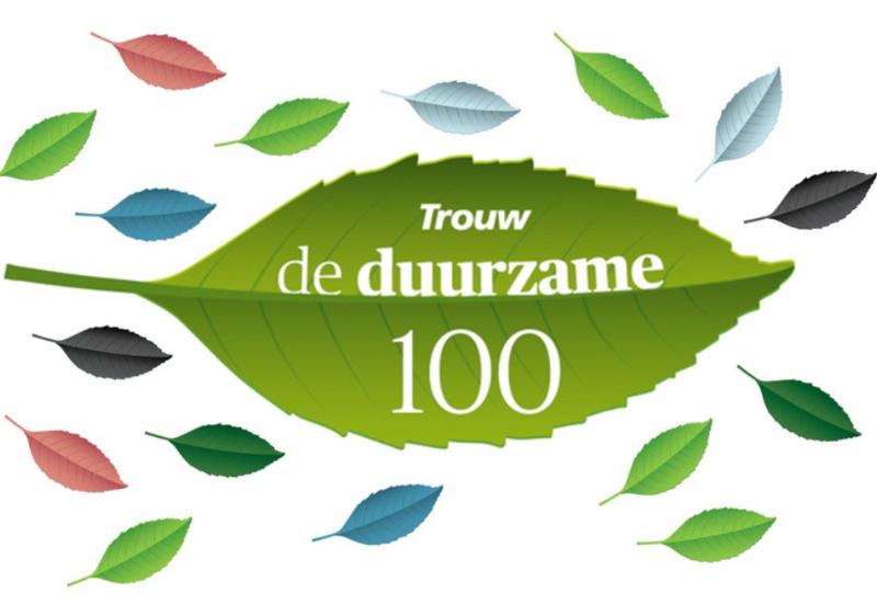 Logo van de Trouw Duurzame 100.
