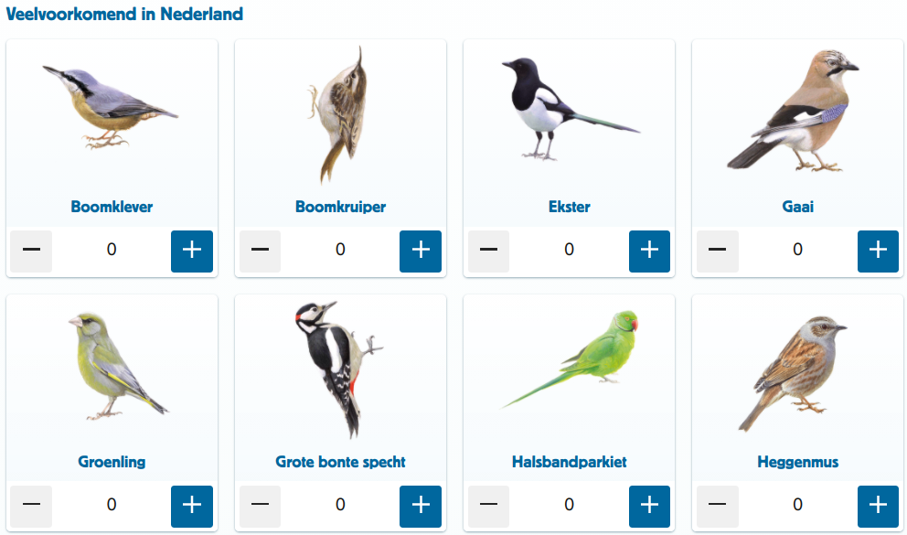 Veel voorkomende tuinvogels als de gaai, heggenmus en grote bonte specht.