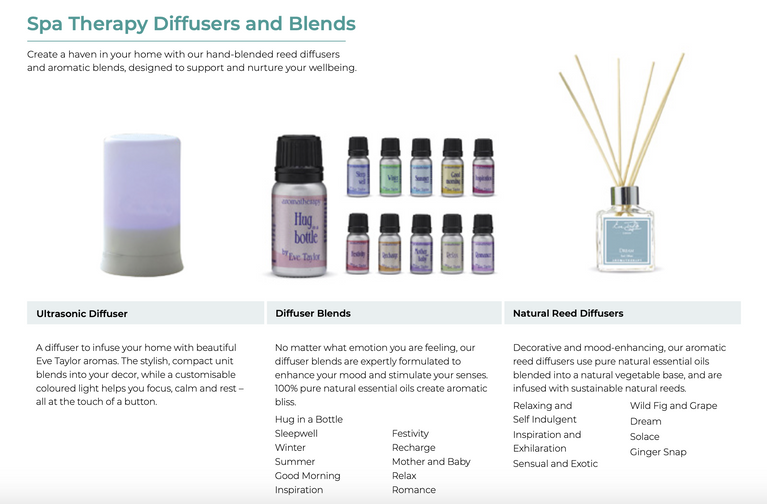 Eve Taylor Spa Therapy Diffusers and Blends