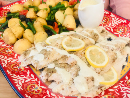 Baked Cape Salmon served with New Potatoes, Green Beans and a Basil and Mustard Yoghurt