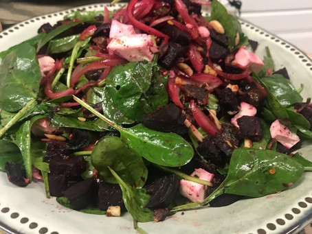 Beetroot, Feta, Date, Nut and Baby Spinach Salad