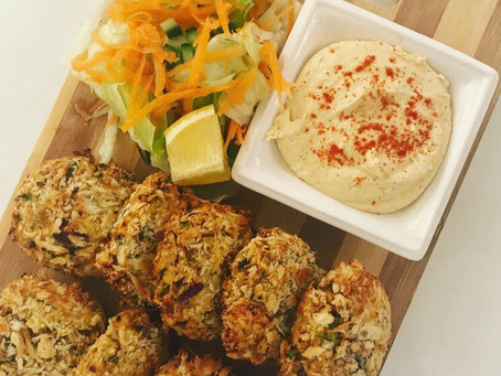 Baked Courgette and Chickpea Falafel with a Side Salad and low fat Hummus.
