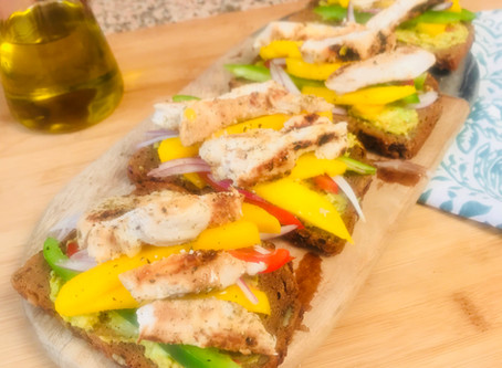 Grilled Chicken, Mango, Red Onion, Pepper and Avocado Open Sandwich