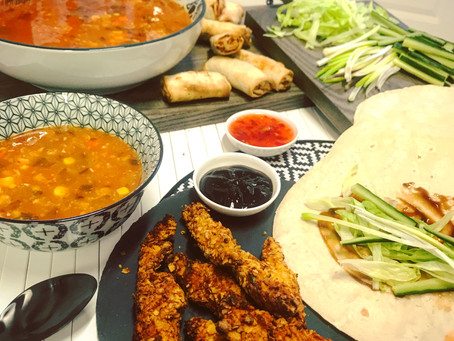 Hot and Sour Soup, Spring Rolls and Crispy Chicken Hoisin Wraps