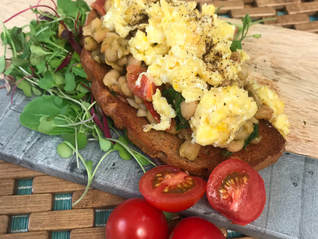 Scrambled, Eggs, With Pesto Beans on Toast