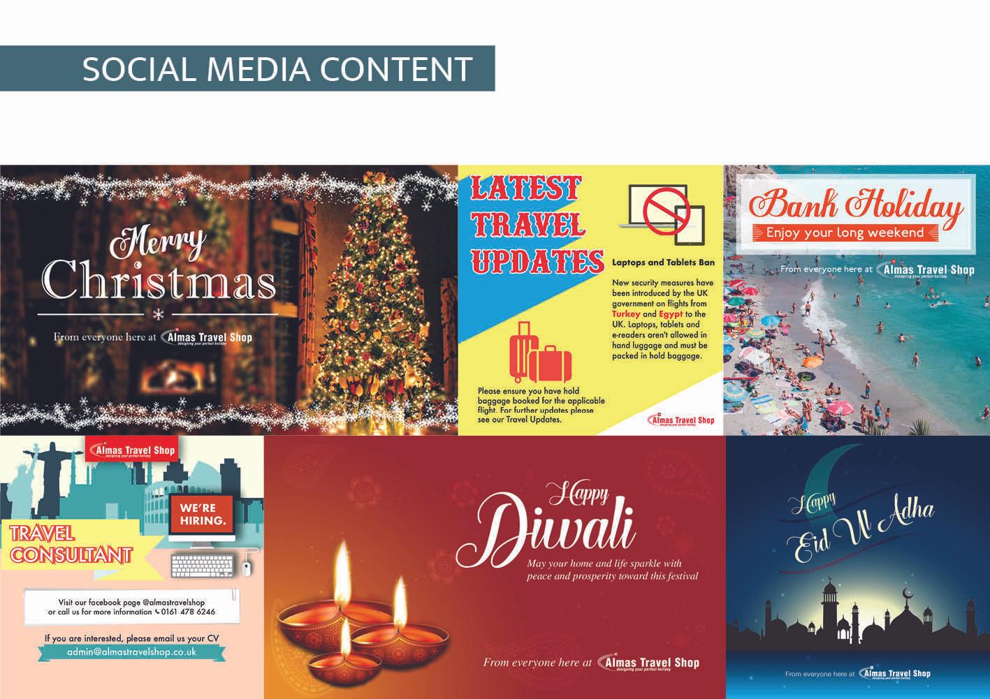Almas Travel Shop - social media content