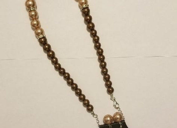 Two tone Brown Beaded Necklace and Earring Set