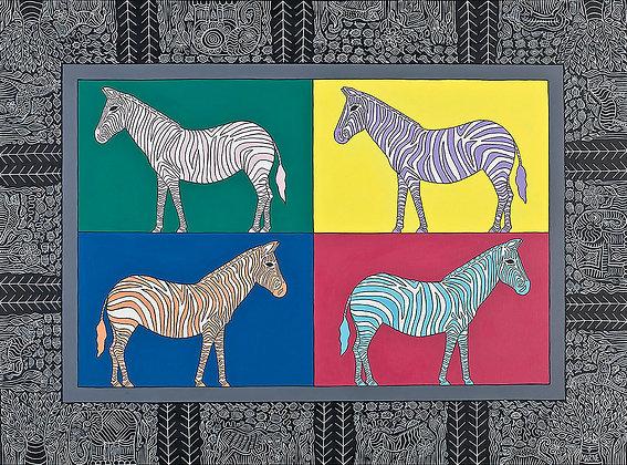 18x24 4 Zebras