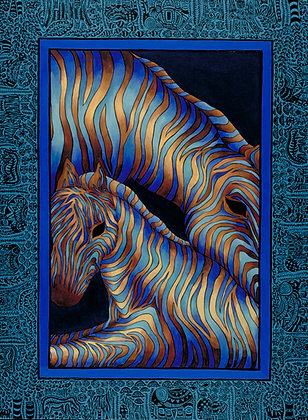 18x24 Sapphire Zebras