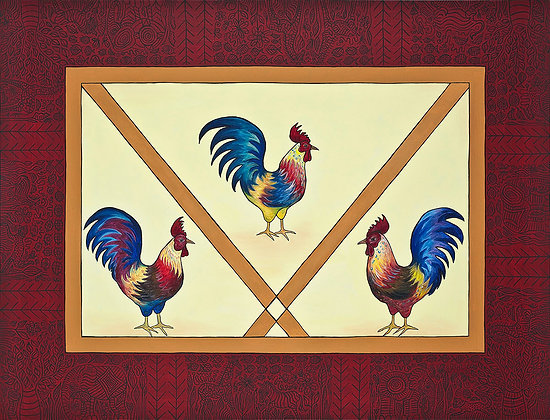 18x24 3 Roosters