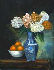 Blue Chinese Vase with Oranges