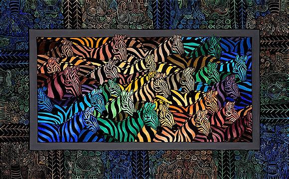 18x24 Technicolor Zebras