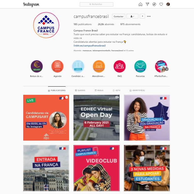 Conta Instagram da Campus France Brasil.