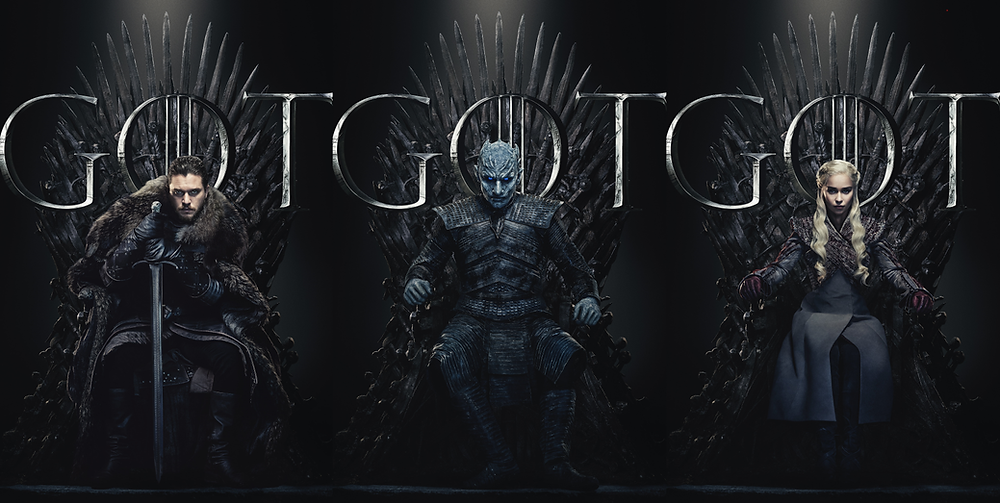 a picture of game of thrones' jon snow, night king and daenerys targaryen sitting on the throne