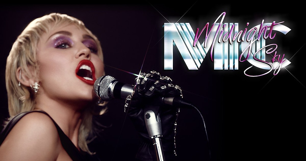 A picture of Miley Cyrus' midnight sky song