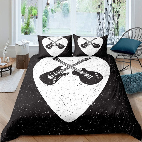 a picture of a music and guitar bed
