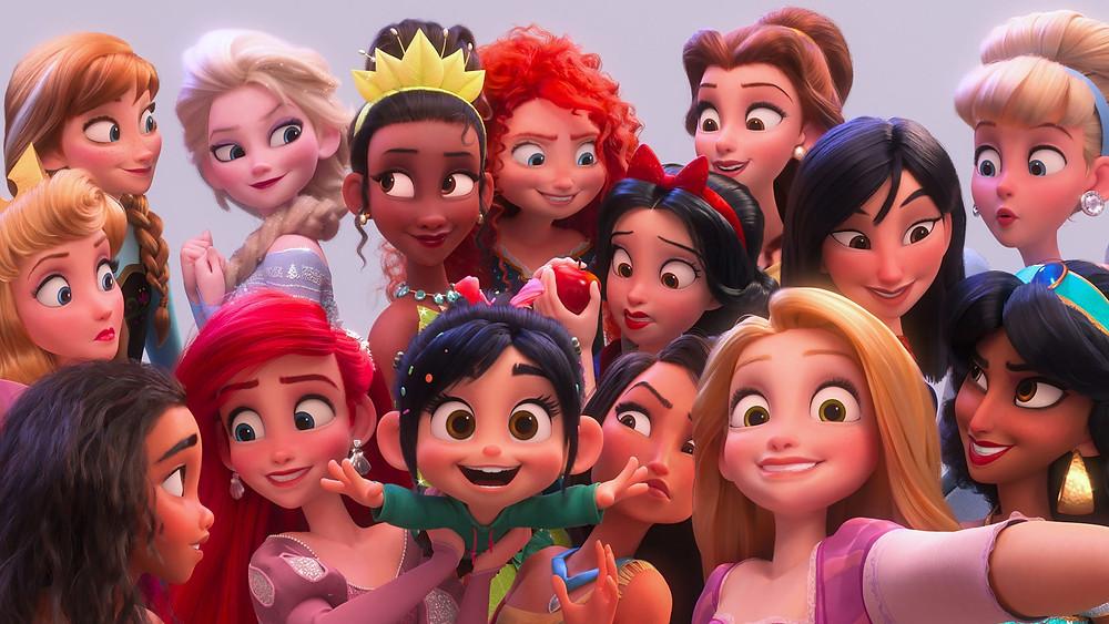 a group of disney princesses