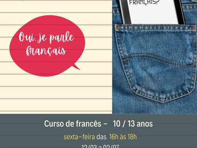 Curso de francês iniciante para 10 - 13 anos