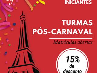 Turmas pós-carnaval: matrículas abertas para iniciantes
