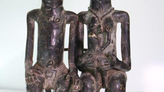 Benin Brass Royal Family Statue