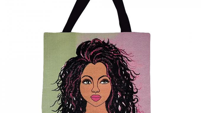 """I AM AMBITIOUS WOVEN TOTE BAG SYLVIA """"GBABY"""" COHEN, AKA INSPIRED GIFTS, WOVEN TO"""
