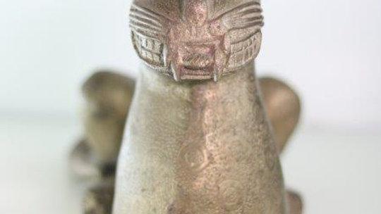 Benin Brass Royal Feline Statue