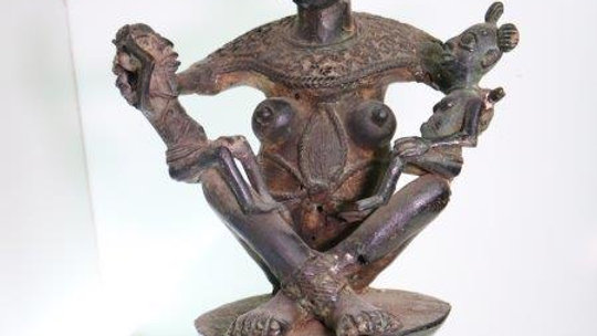 Benin Brass Royal Mother & Children Statue