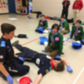 MedVents Josh & Ben teaching Local Scouts about CPR and AED use.