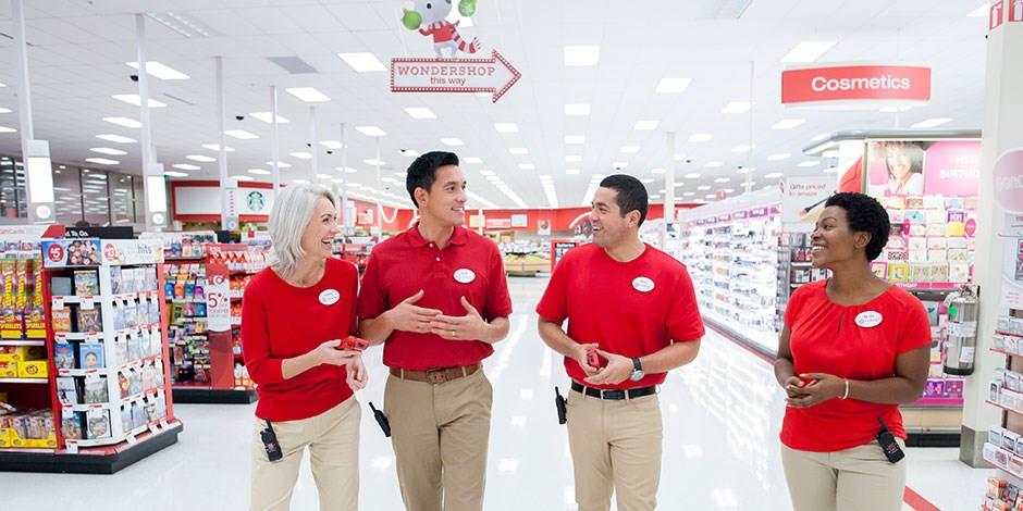 seasonal target employees in target store talking