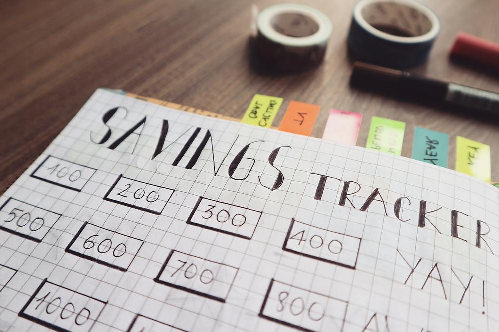 money savings financial tracker