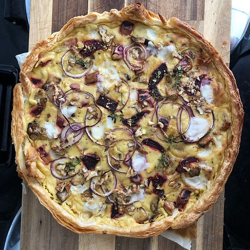 Beetroot and Feta Quiche with Walnuts