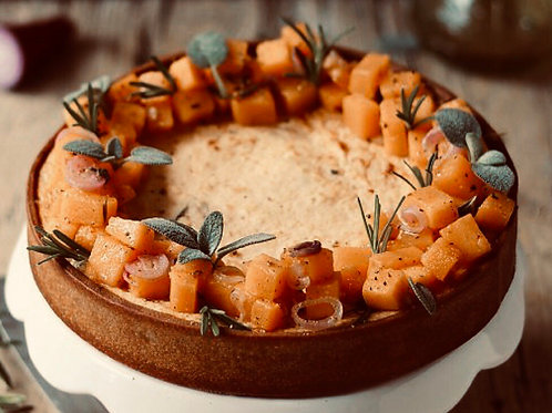 Butternut & Sage Baked cheeze cake with red onion.