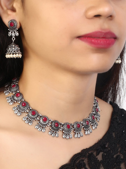 Silver Oxidized Necklace with Drop Earrings