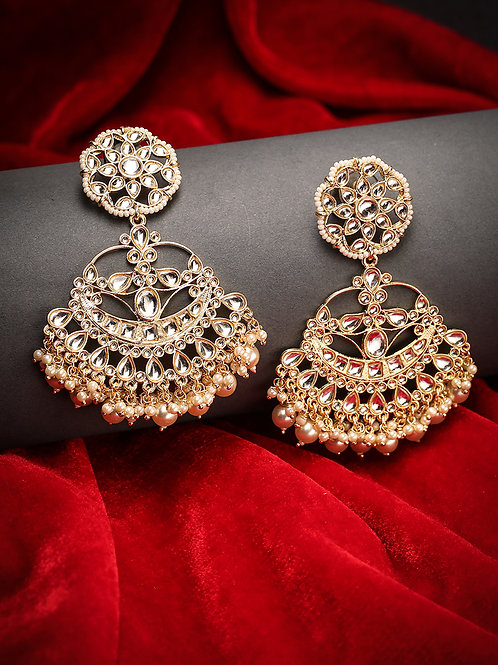 White Gold-Plated Handcrafted Kundan Studded Crescent Shaped Chandbalis