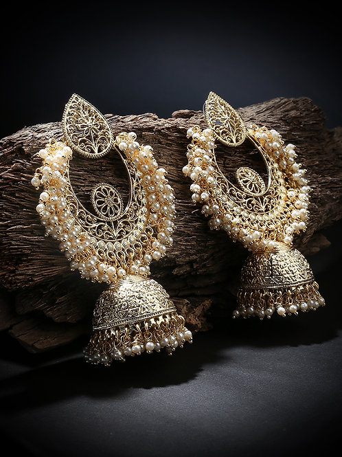 Gold-Plated Dome Shaped Jhumkas