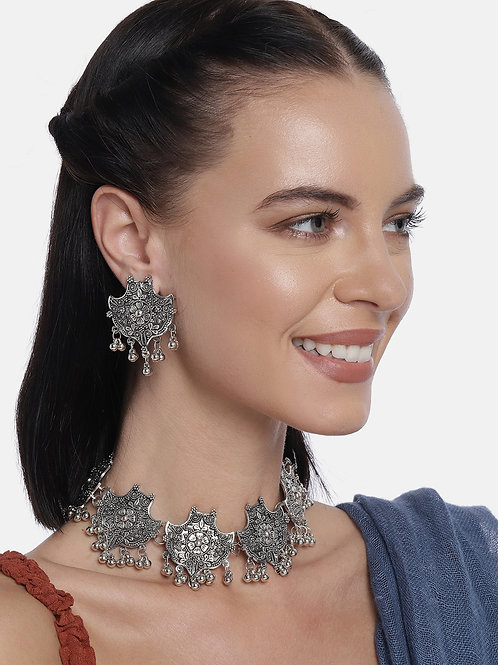 Silver-Plated Oxidized Handcrafted Jewellery Set