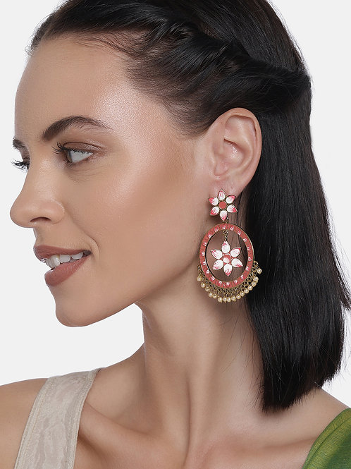 Pink & Gold Plated Floral Drop Earrings