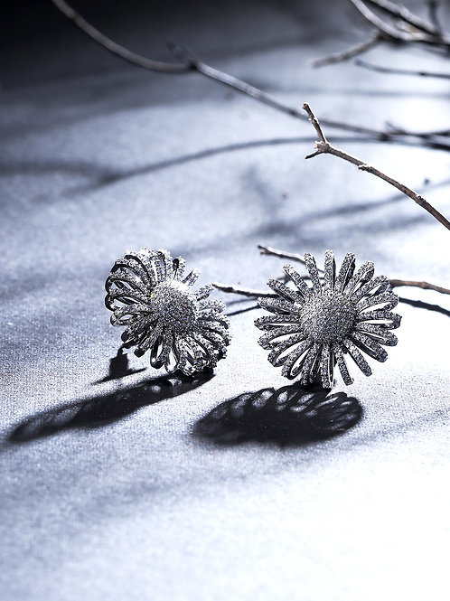 Silver-Toned Rhodium Plated AD Studded Handcrafted Floral Studs