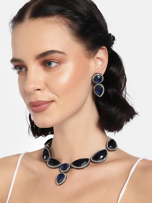 Laida Women Blue Rhodium Plated Zircon Studded Jewellery Set