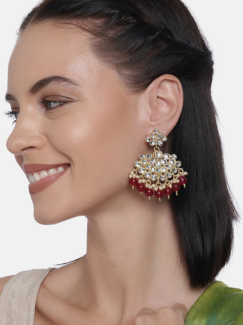 White & Maroon Gold Plated Kundan Studded Contemporary Drop Earrings