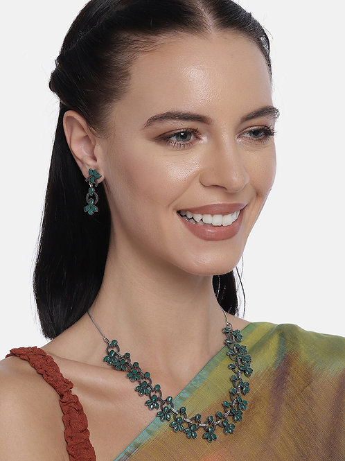 Green Silver Plated Oxidized Handcrafted Jewellery Set