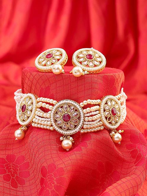 Off-White Gold-Toned Polki Jewellery Set