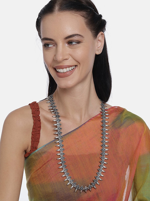 Silver-Plated Oxidized Handcrafted Long Necklace